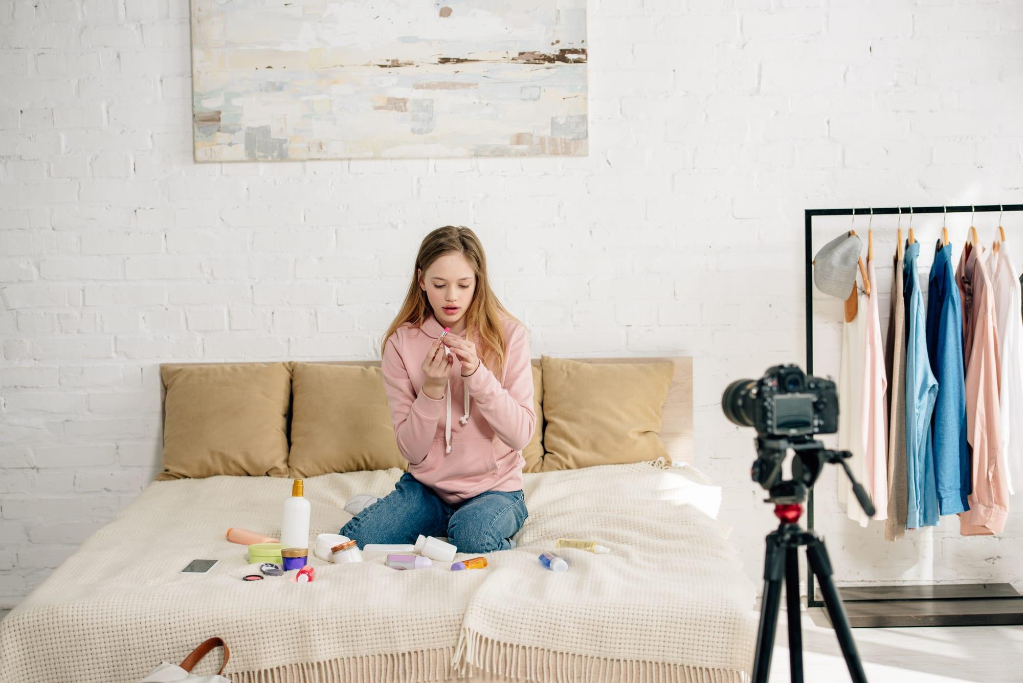 Female Student Vlogging about make up