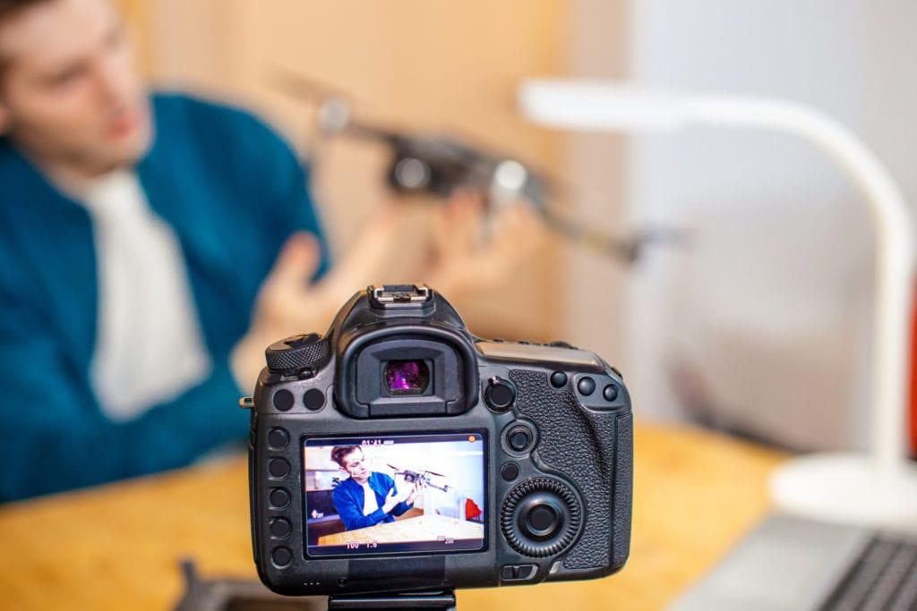 teacher creating a drone video